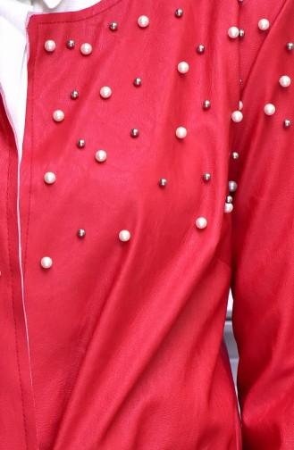 معطف من الجلد بتفاصيل من اللؤلؤ  4539-05