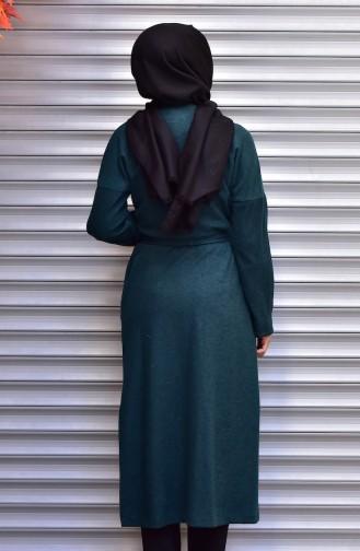 شوكران كاب بتصميم حزام للخصر 35799-05 لون أخضر زمردي 35799-05