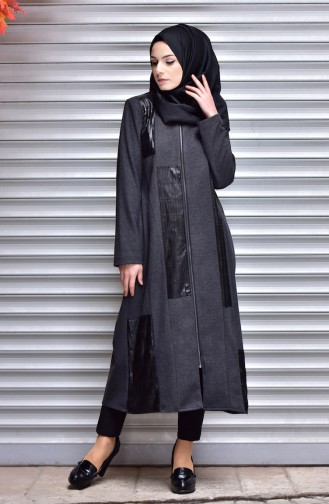 SUKRAN Leather Detail Cape 35791-01 Anthracite 35791-01