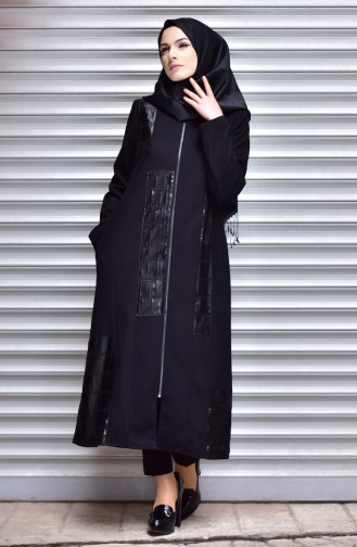 SUKRAN Leather Detail Cape 35791-02 Black 35791-02