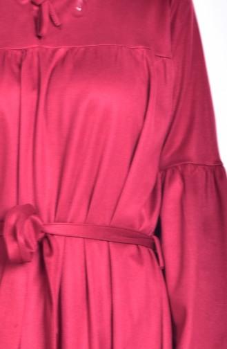 Robe Daim a Ceinture 7554-02 Bordeaux 7554-02