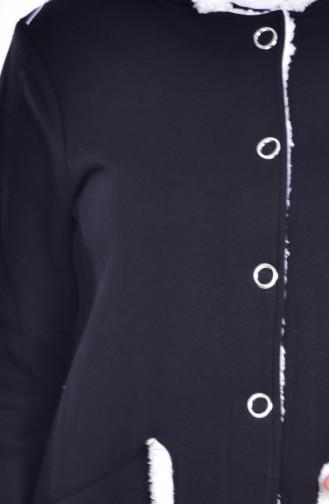 Kapüşonlu Çıtçıtlı Kap 1281-03 Siyah