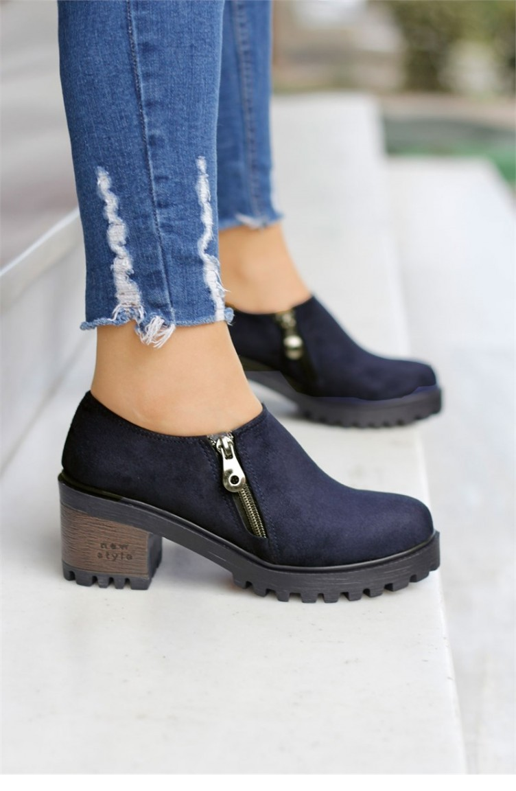 Navy Blue Suede Heeled Shoes 8KISA0106549