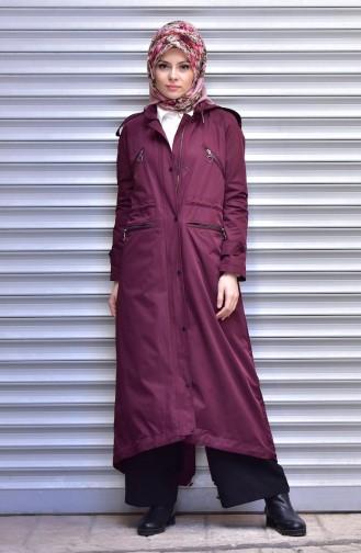 SUKRAN Hooded Raincoat 35795-01 Claret Red 35795-01