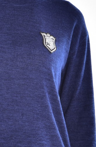 Patchwork Pullover 15478-03 Dunkelblau 15478-03