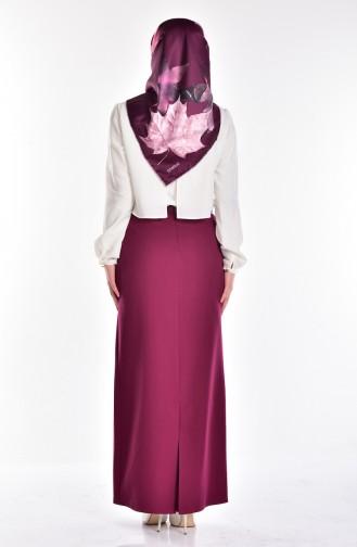 Belted Pencil Skirt 1580-06 Plum 1580-06