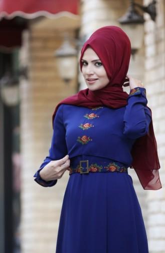 Merve Arslan Robe Bordée 0008-03 Bleu Roi 0008-03