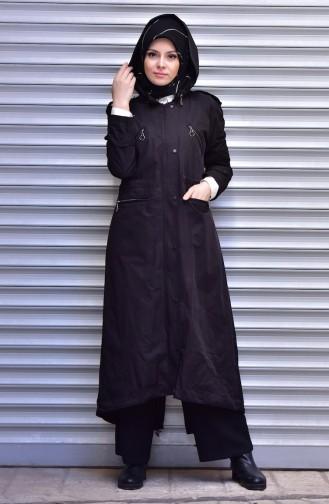 SUKRAN Hooded Raincoat 35795-04 Black 35795-04
