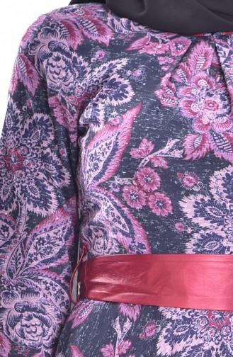Kleid mit Gürtel 7441-03 Weinrot 7441-03