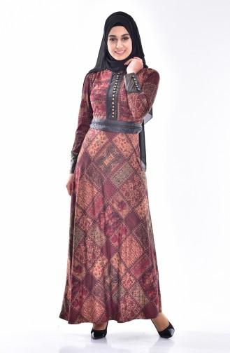 Gemustertes Kleid mit Knöpfen Details 7454-02 Braun 7454-02