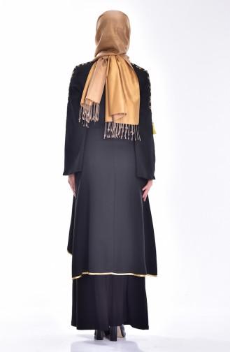 Kleid und Kaftan mit Stickerei 5000-04 Schwarz 5000-04