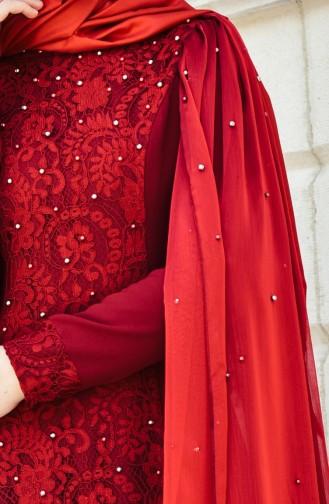 Claret red Islamic Clothing Evening Dress 1013-03