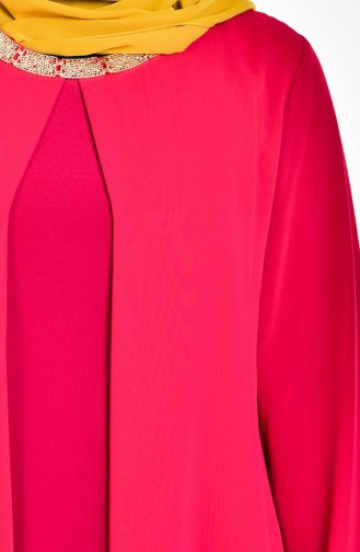 Claret red Islamic Clothing Evening Dress 2124-01