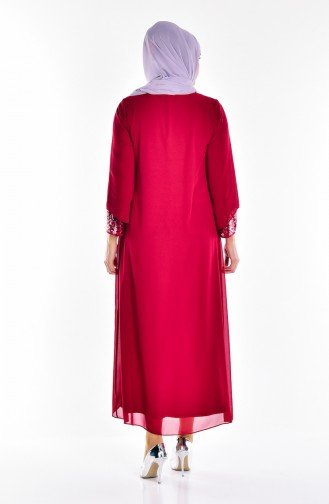 Claret red Islamic Clothing Evening Dress 2180-03