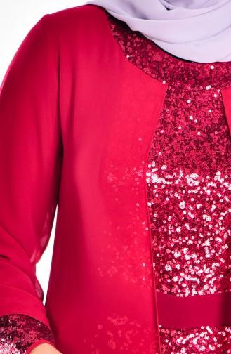 Chiffon Abendkleid mit Pailetten 2180-03 Weinrot 2180-03