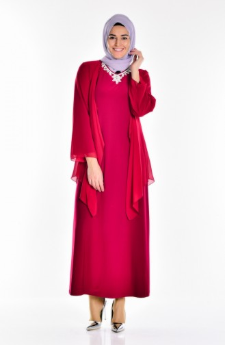 Claret red Islamic Clothing Evening Dress 2186-02