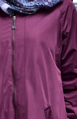 شوكران معطف واق من المطر بتصميم سحاب و جيوب 35798-02 لون خمري 35798-02