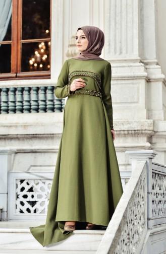 Khaki Islamic Clothing Evening Dress 0010-02