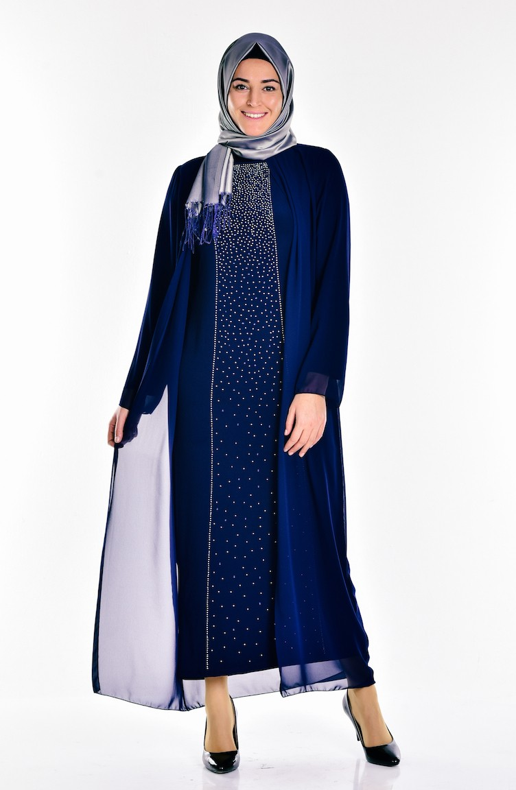 bace55509f72f Navy Blue Islamic Clothing Evening Dress 5919-01