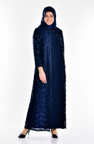 Robe de Soirée Grande Taille 6004-03 Bleu Marine 6004-03