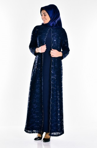 Büyük Beden Pullu Abiye Elbise 6004-03 Lacivert 6004-03