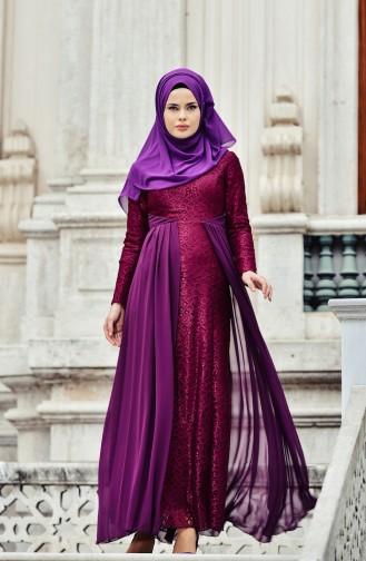 Purple Islamic Clothing Evening Dress 0408-01