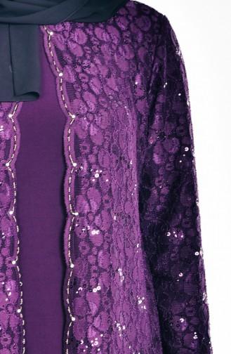 Übergröße Abendkleid mit Pailetten 6004-02 Lila 6004-02