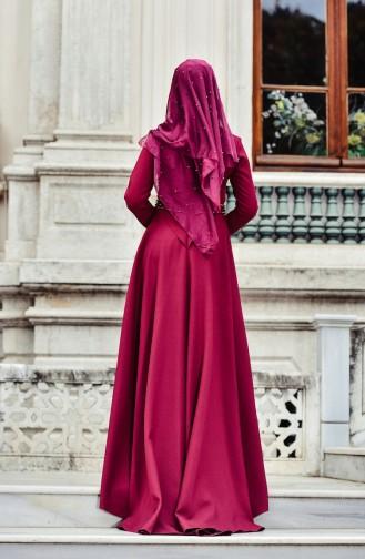 Merve Arslan Kleid mit Perlen 0010-01 Zwetschge 0010-01