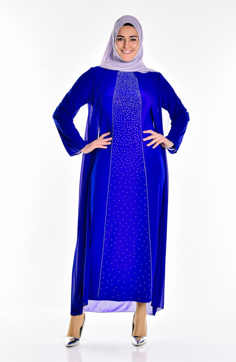 0d5d621eb76a0 Saxon blue Islamic Clothing Evening Dress 5919-02