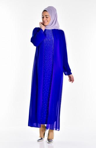 Saxon blue Islamic Clothing Evening Dress 5919-02