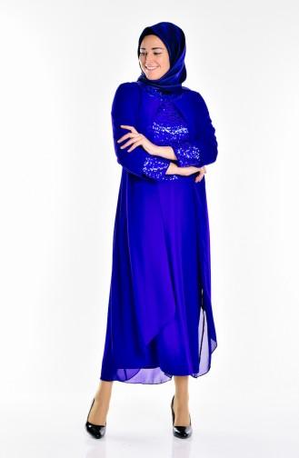Saxon blue Islamic Clothing Evening Dress 2180-01