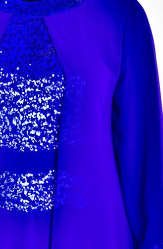 Robe Mousseline Détail Paillette 2180-01 Bleu Roi 2180-01