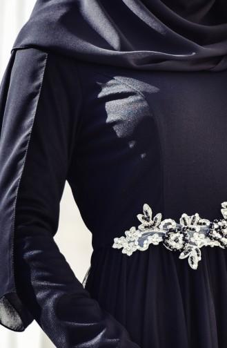 Fahrunnisa Güpürlü Tül Abiye Elbise 1004-01 Siyah 1004-01