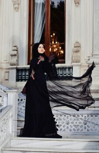Nakışlı Abiye Elbise 3061-01 Siyah