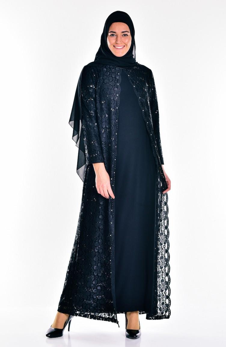 fc41f135ce85b Black Islamic Clothing Evening Dress 6004-01