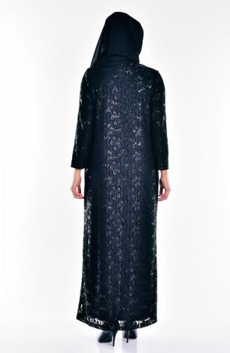 Übergröße Abendkleid mit Pailetten 6004-01 Schwarz 6004-01