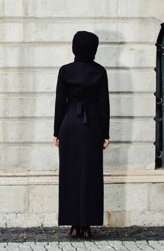Merve Arslan Robe a Ceinture 0007-01 Noir 0007-01