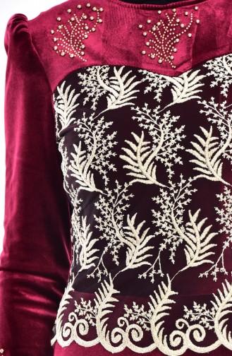 Robe Velours a Dentelle İmprimée de Pierre 7010-06 Bordeaux 7010-06