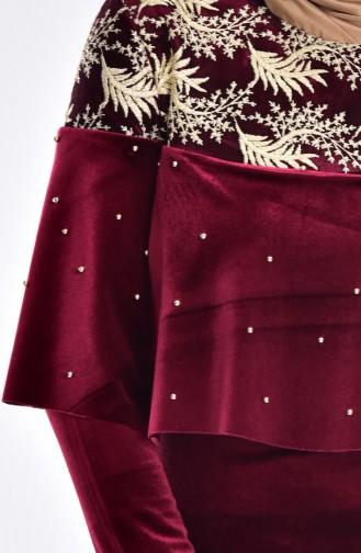 Perlenkleid mit Spitzen 7011-05 Weinrot 7011-05