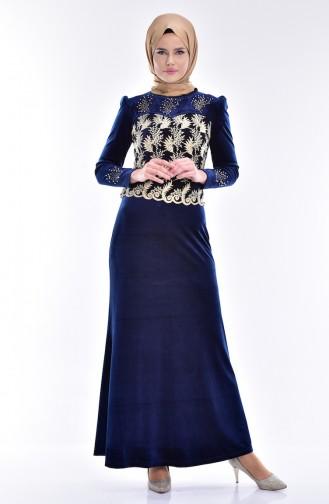 Bedrucktes Samt Kleid mit Spitzen 7010-04 Petroleum 7010-04