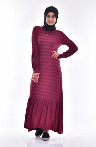 Robe a Motif Rayure 3171-02 Bordeaux 3171-02