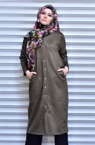 Suede Coat with Snap-Fastener 14942-05 Khaki 14942-05