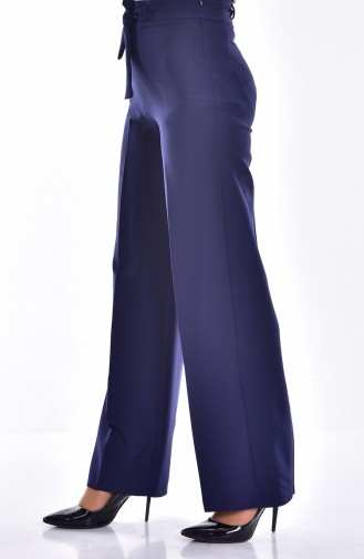 Kuşaklı Bol Paça Pantolon 2020-02 Lacivert