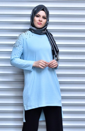 Sweater with Pearls 15561-02 Blue 15561-02