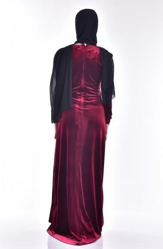 Robe Velours a Paillette 9012-02 Bordeaux 9012-02