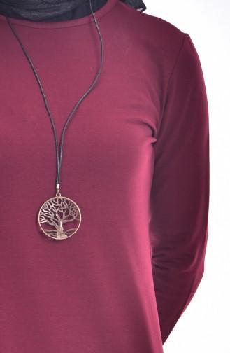Kleid aus Zwei Garne mit Halskette 2779-13 Dunkel Weinrot 2779-13