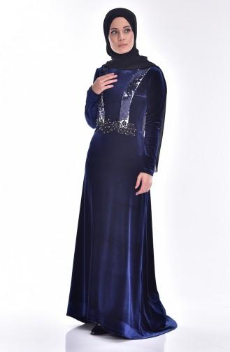 Samt Kleid mit Pailetten 9012-01 Dunkelblau 9012-01