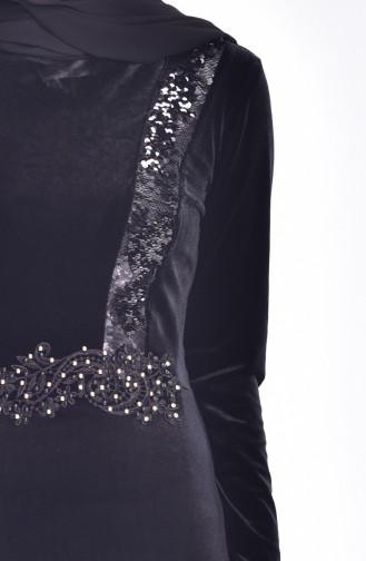 Samt Kleid mit Pailetten 9012-03 Schwarz 9012-03