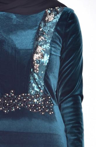 Samt Kleid mit Pailetten 9012-06 Smaragdgrün 9012-06