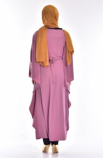 Abaya mit Fledermausärmeln 4024-01 Rosa 4024-01